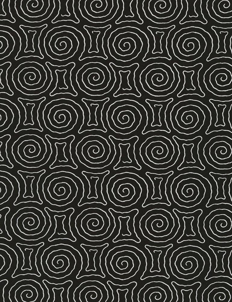 Timeless Treasures - Spiral Maze - Vanessa-C5657 - Black