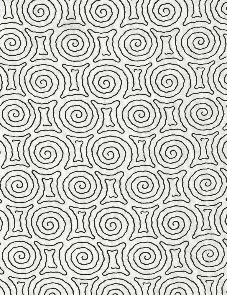 Timeless Treasures - Spiral Maze - Vanessa - C5657 - White