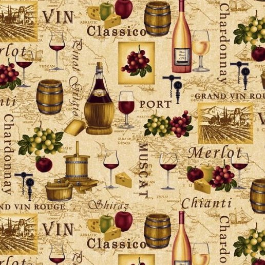 Henry Glass Fabric Tuscany - Wine