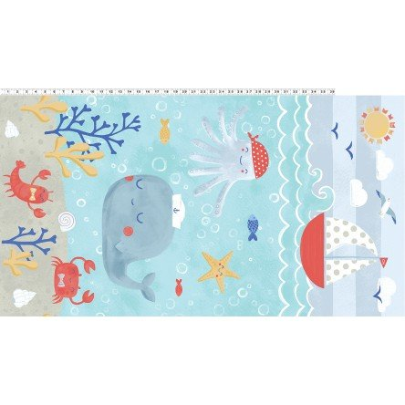 Clothworks Fabric Sail Away Panel - Y2150-33 Aqua