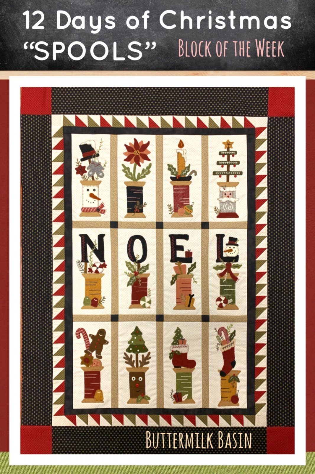 12 Days of Christmas Spools! *Quilt Finishing Kit & Pattern