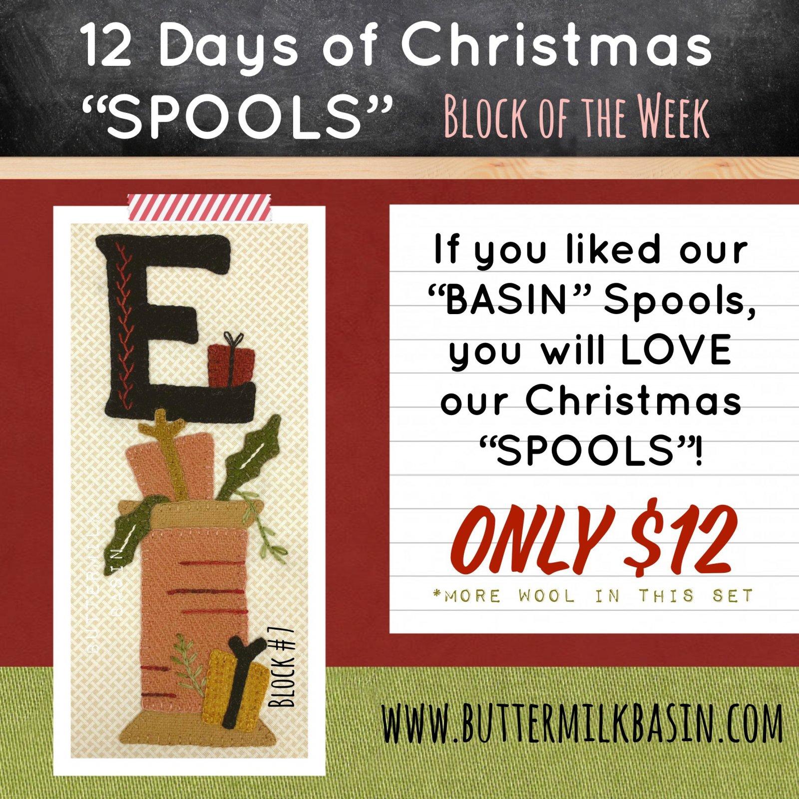 12 Days of Christmas Spools! * Block 7 * KIT & Pattern
