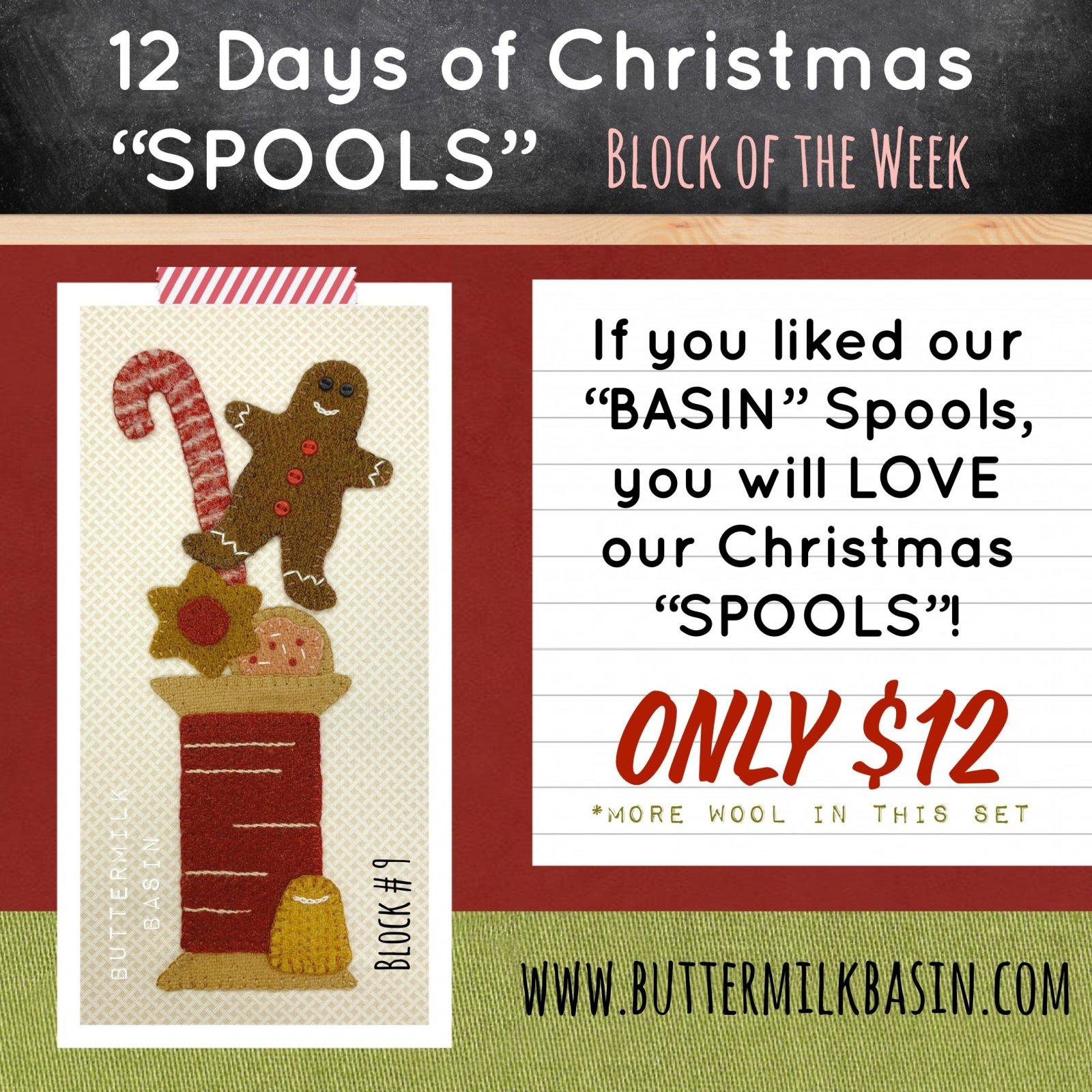 12 Days of Christmas Spools! * Block 9 * KIT & Pattern
