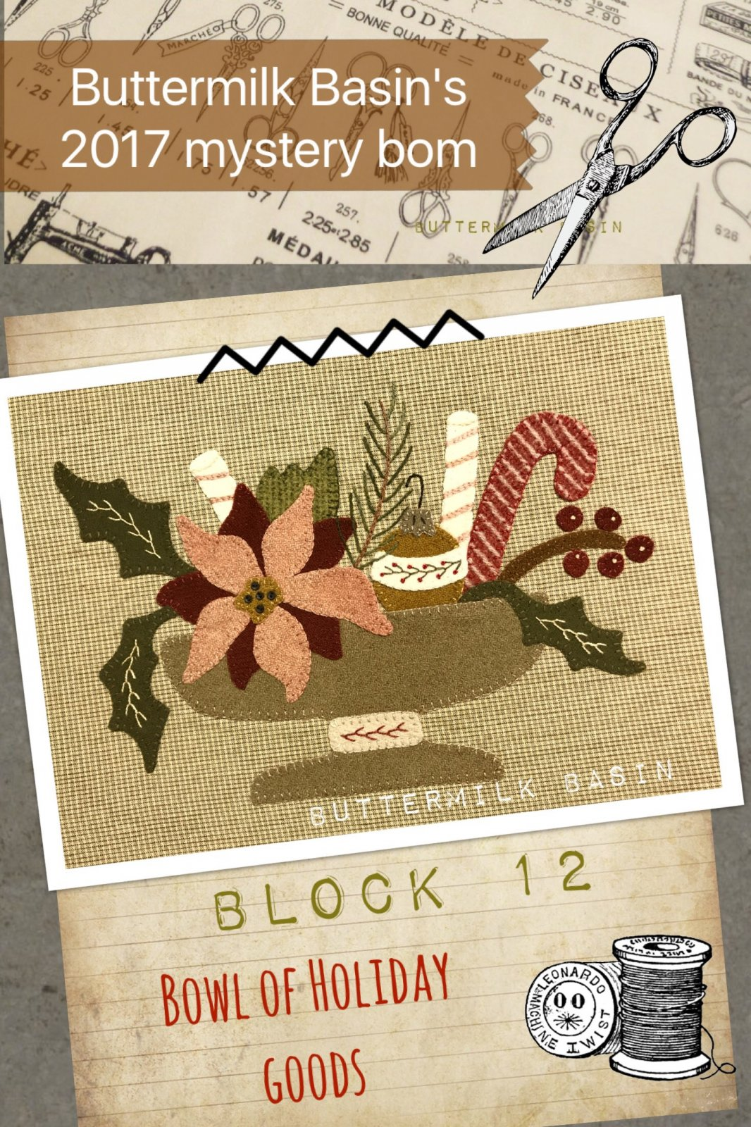 LIVE EACH SEASON Block 12  WOOL & Fabric KIT & Pattern