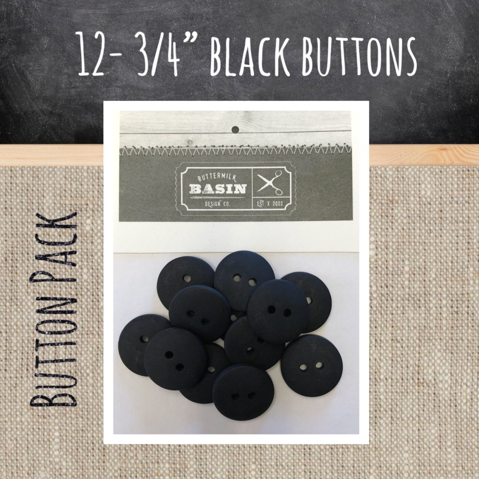 3/4 Black Button Pack