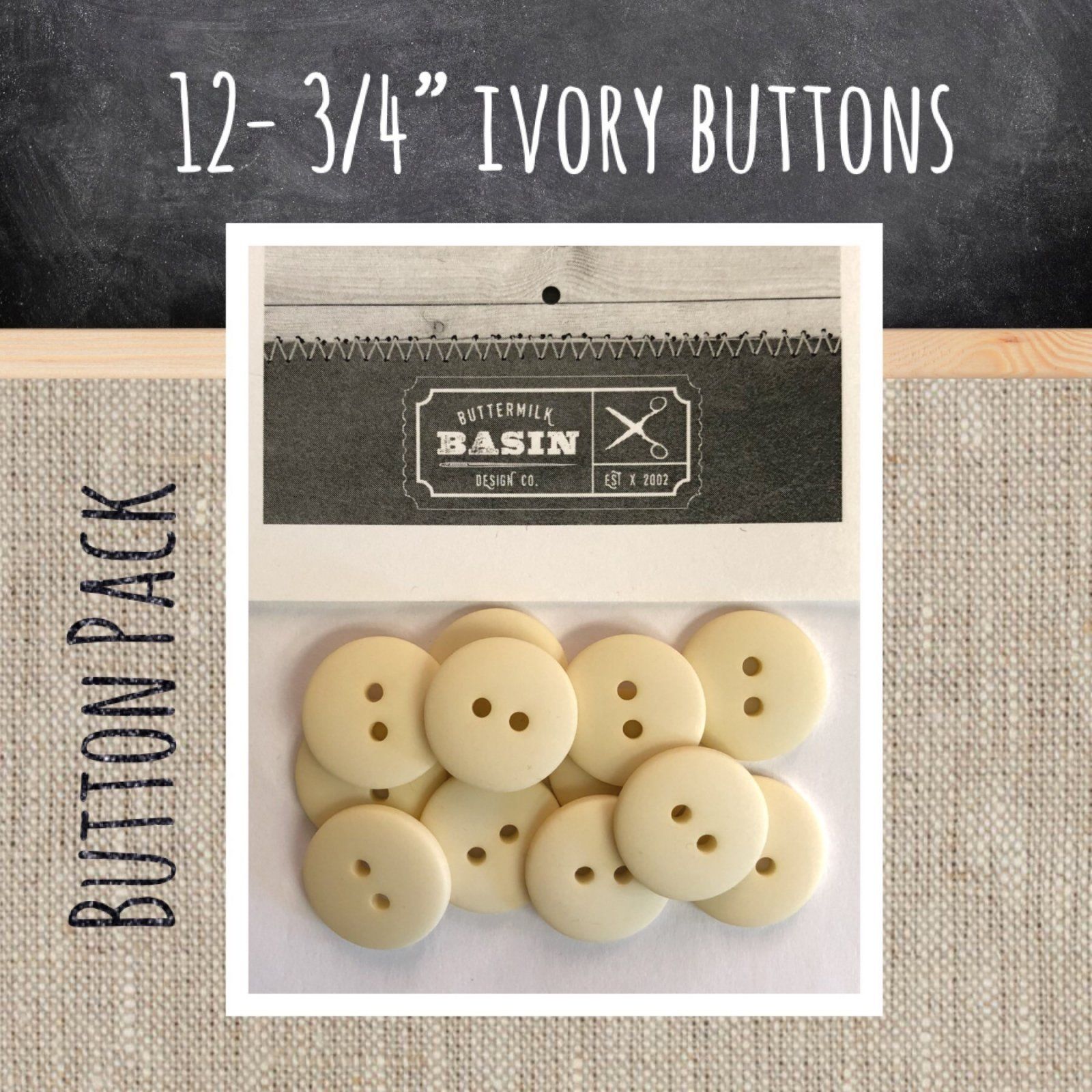 3/4 Ivory Button Pack