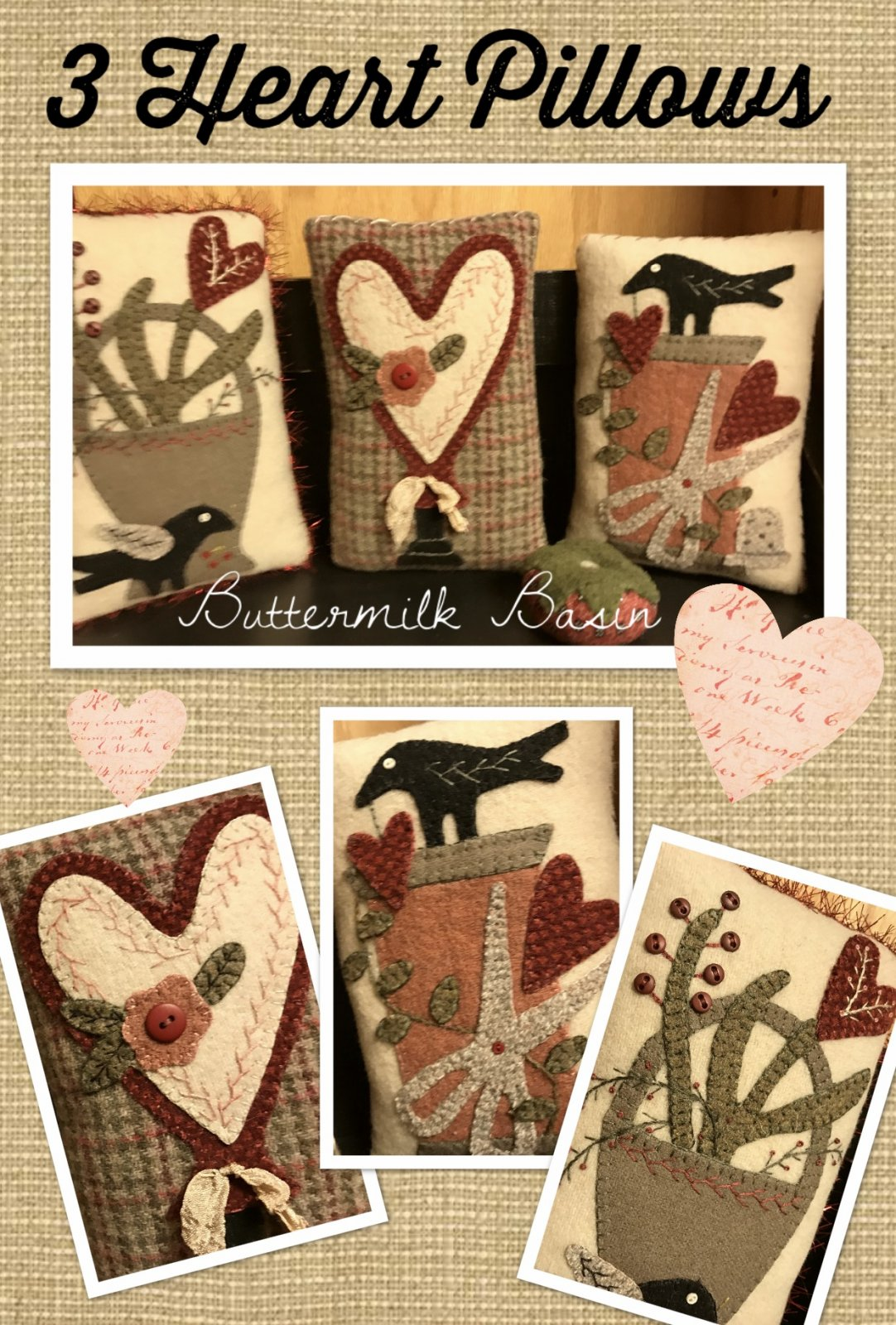 3 Heart Pillows KIT & Pattern