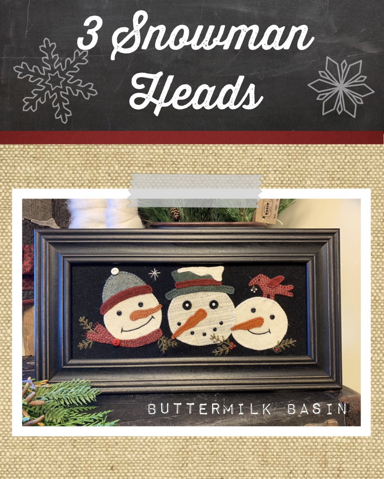 3 Snowman Heads * Kit & Pattern
