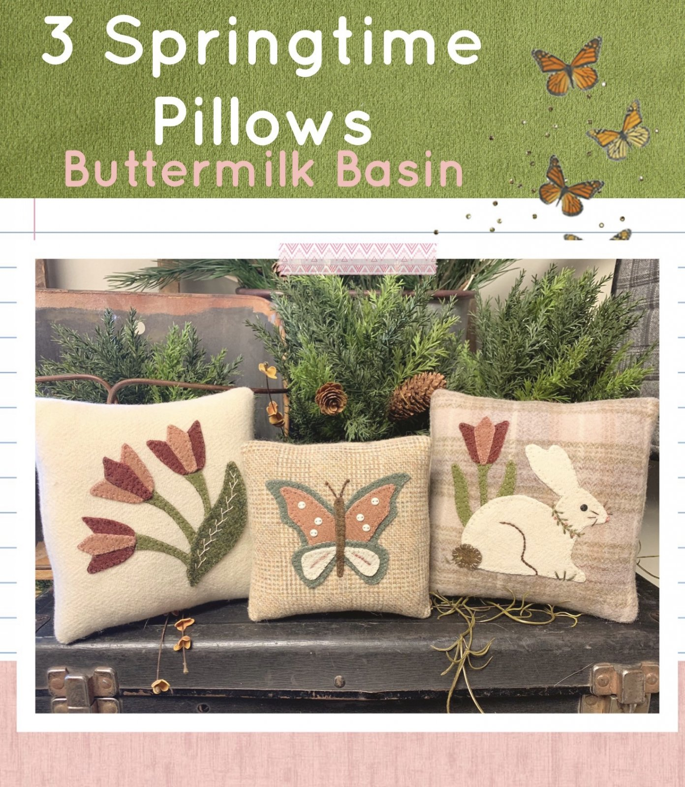 3 Springtime Pillows * Pattern & Kit