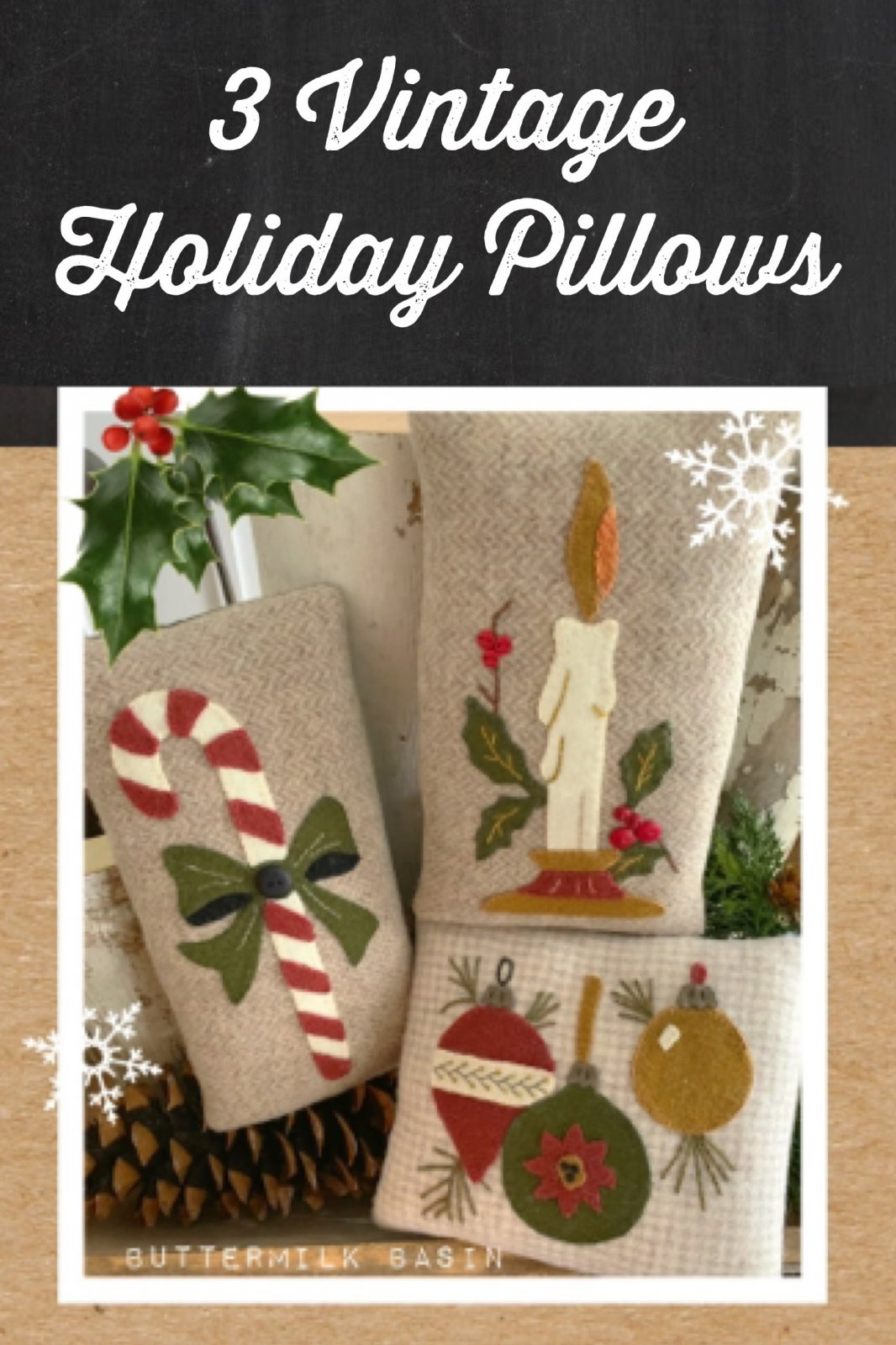 3 Vintage Holiday Pillows * Pattern & Kit
