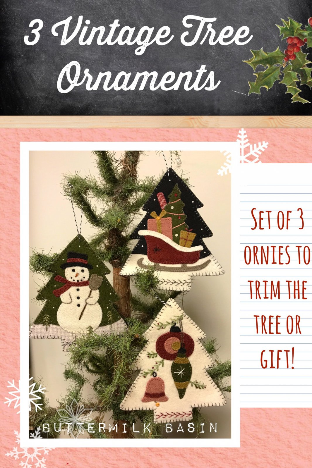 3 Vintage Tree Ornaments * KIT & Pattern