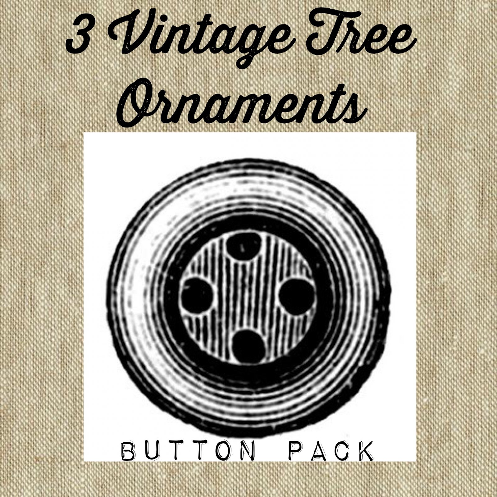 3 Vintage Tree Ornaments Button Pack