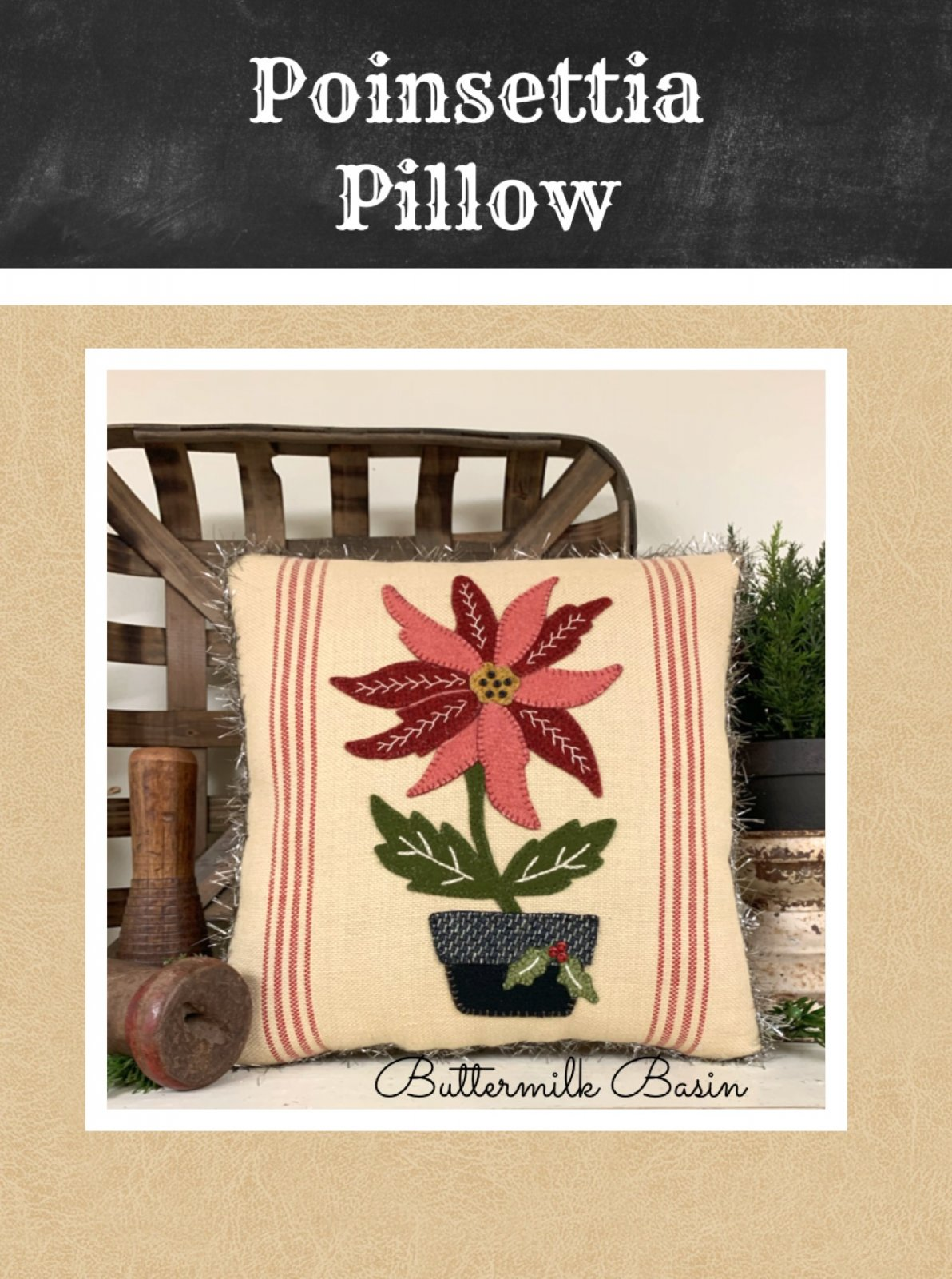 Poinsettia Pillow * KIT & Pattern