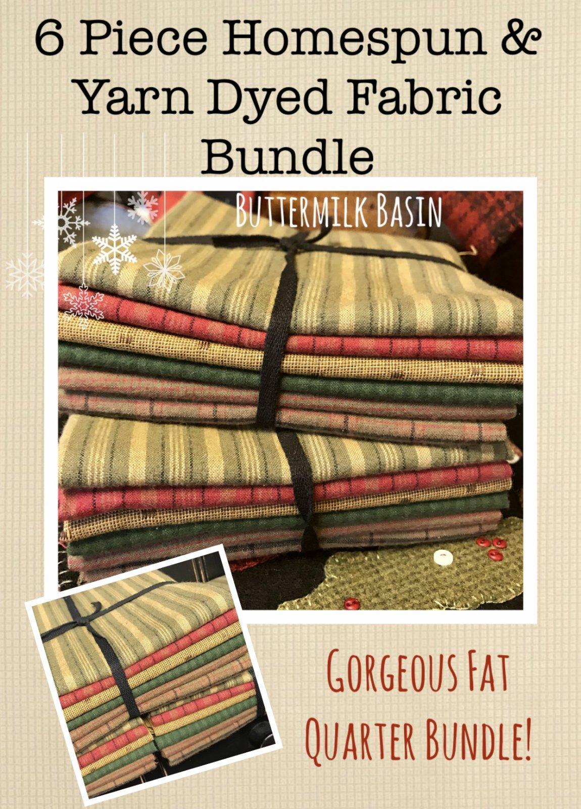 6 Piece Homespun Fabric Bundle