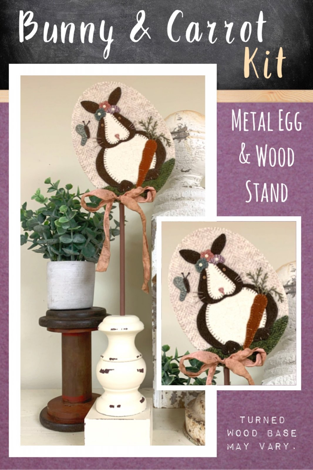 Bunny & Carrot * Kit, Pattern, Metal Egg & Wood Stand