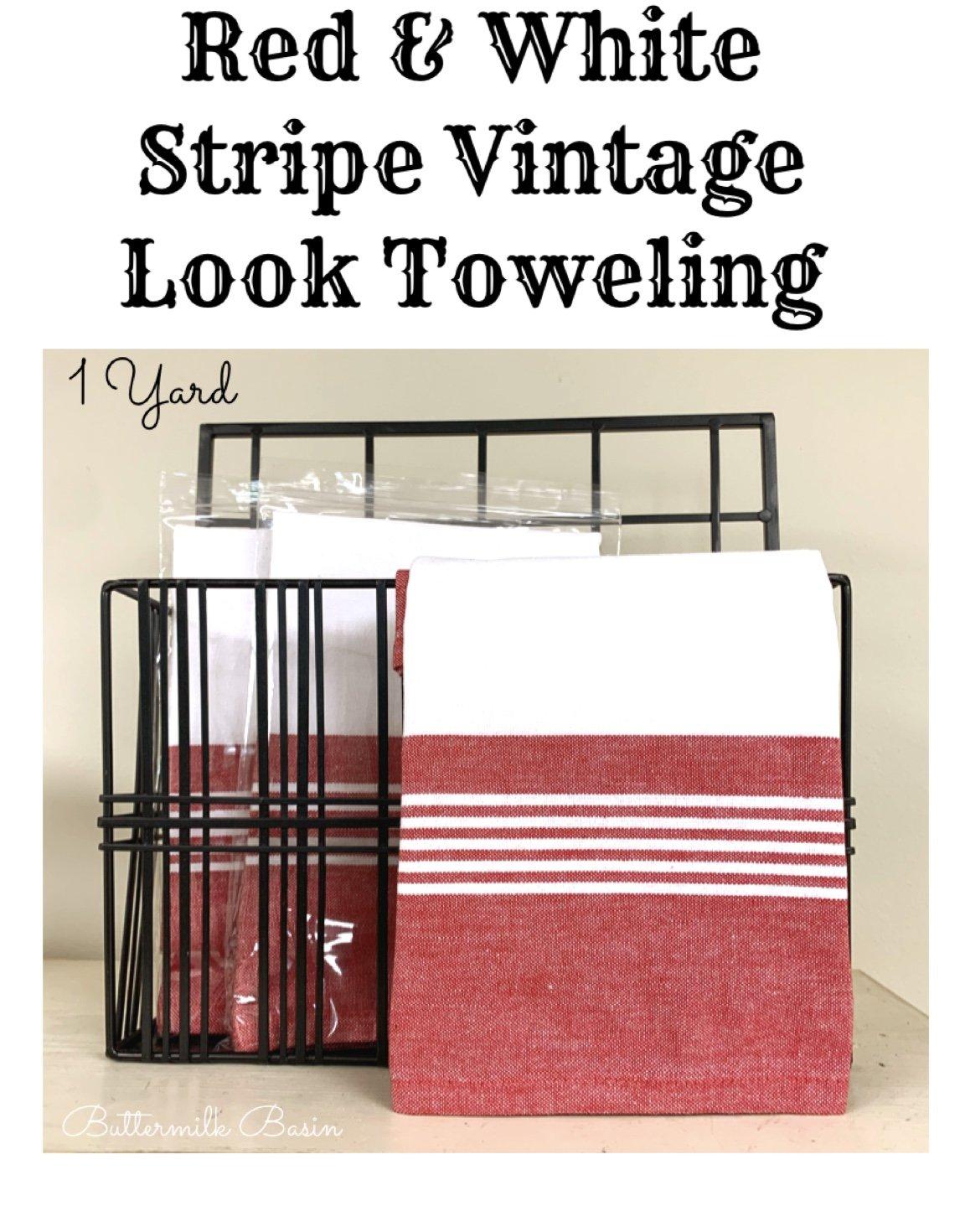 Red & White Stripe Vintage Look Toweling