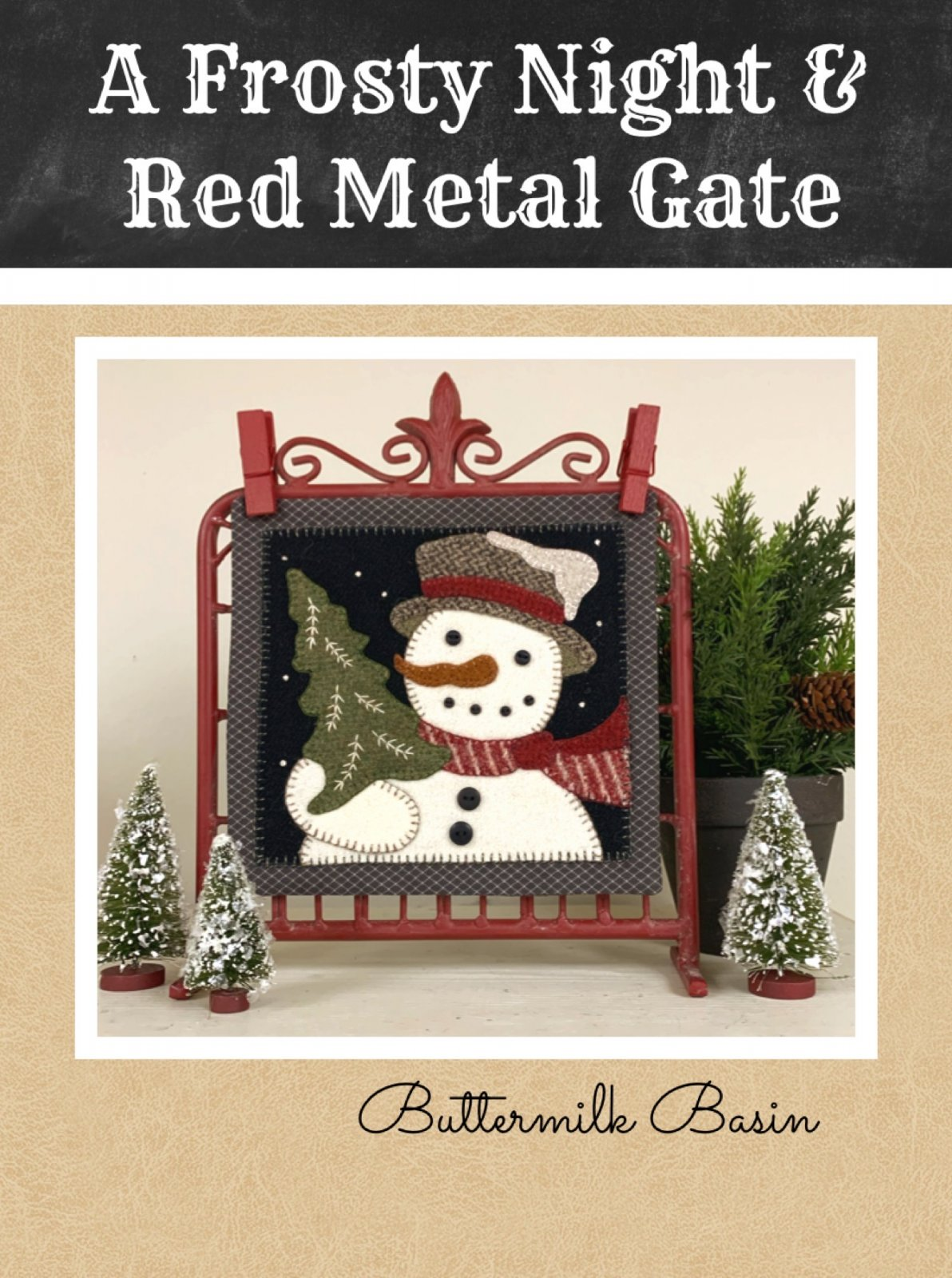 A Frosty Night & Red Metal Gate * Kit, Pattern & Metal Gate