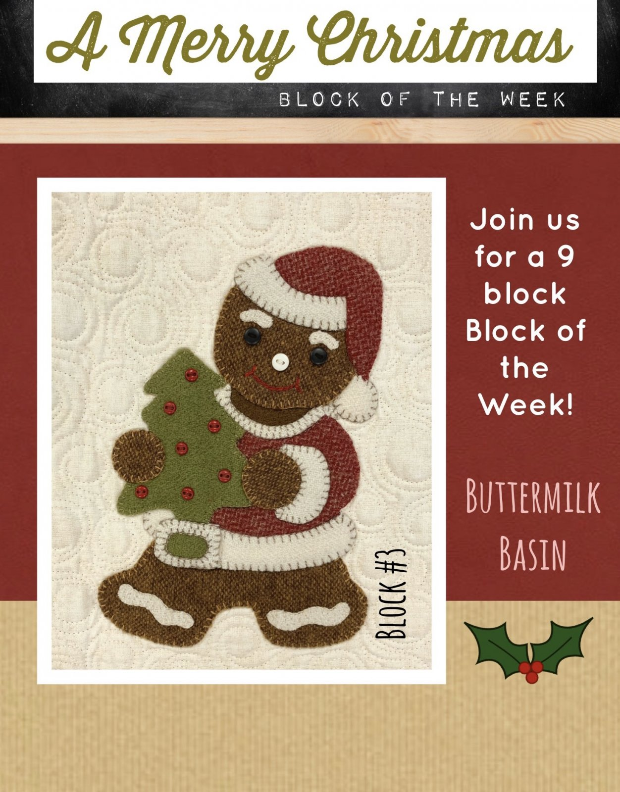 A Merry Christmas Block #3 * KIT & Pattern