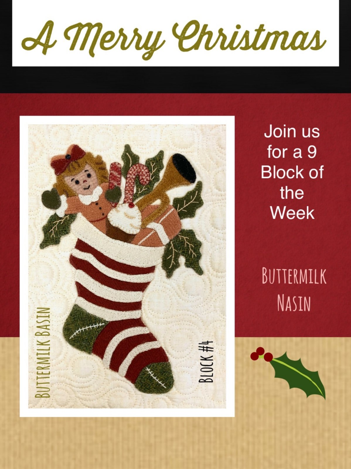A Merry Christmas Block #4 * KIT & Pattern