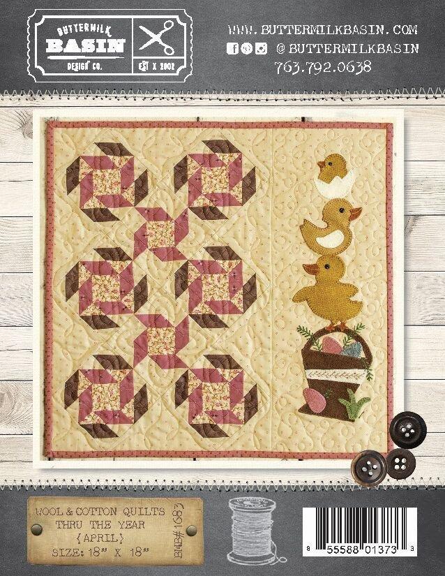 Wool & Cotton Quilts thru the Year * April WOOL KIT & Pattern