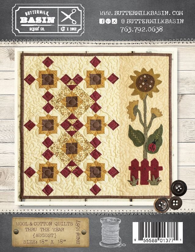 Wool & Cotton Quilts thru the Year * August WOOL KIT & Pattern