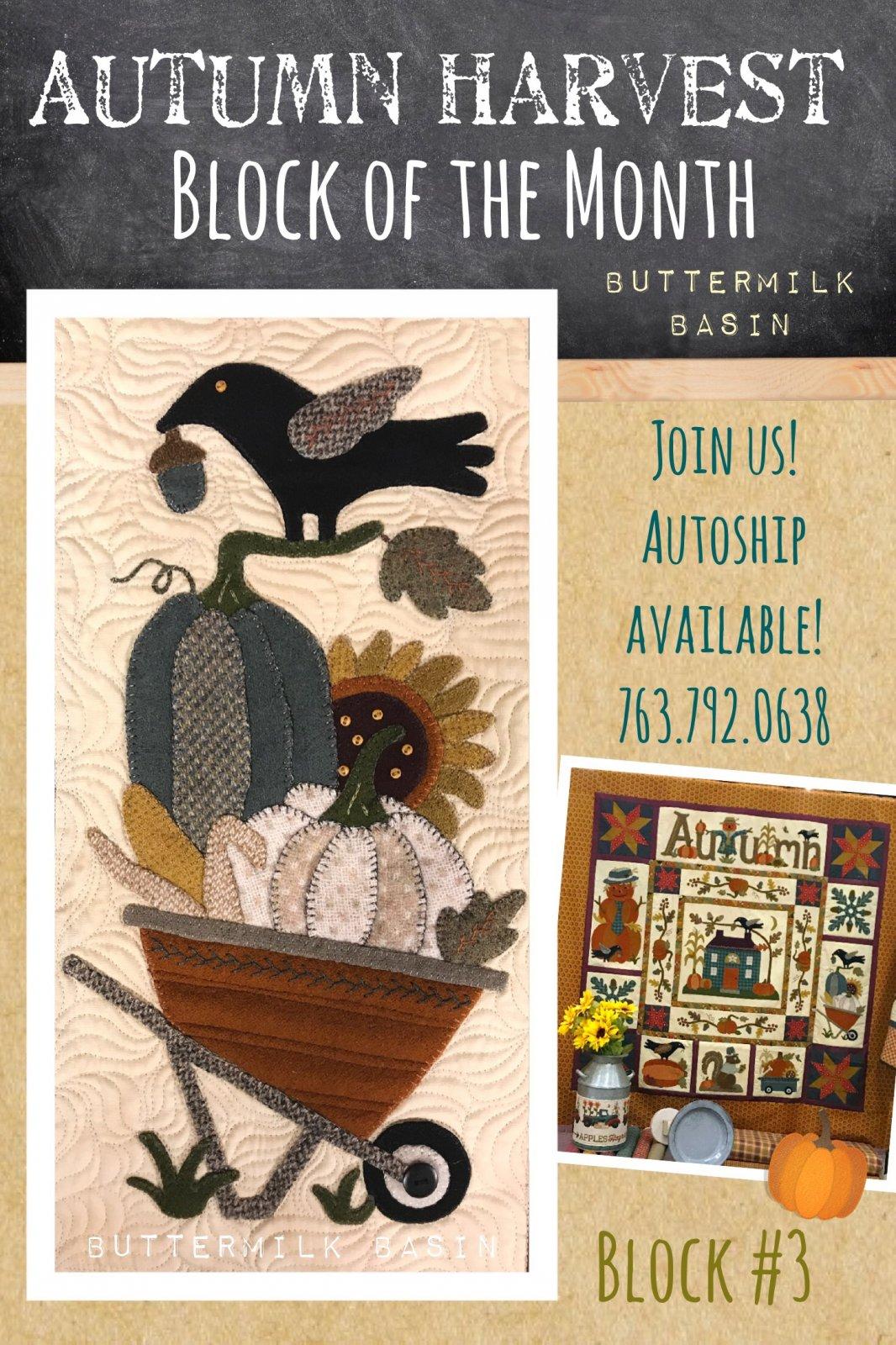 Autumn Harvest Wool & Cotton BOM * Block #3 Kit and Pattern