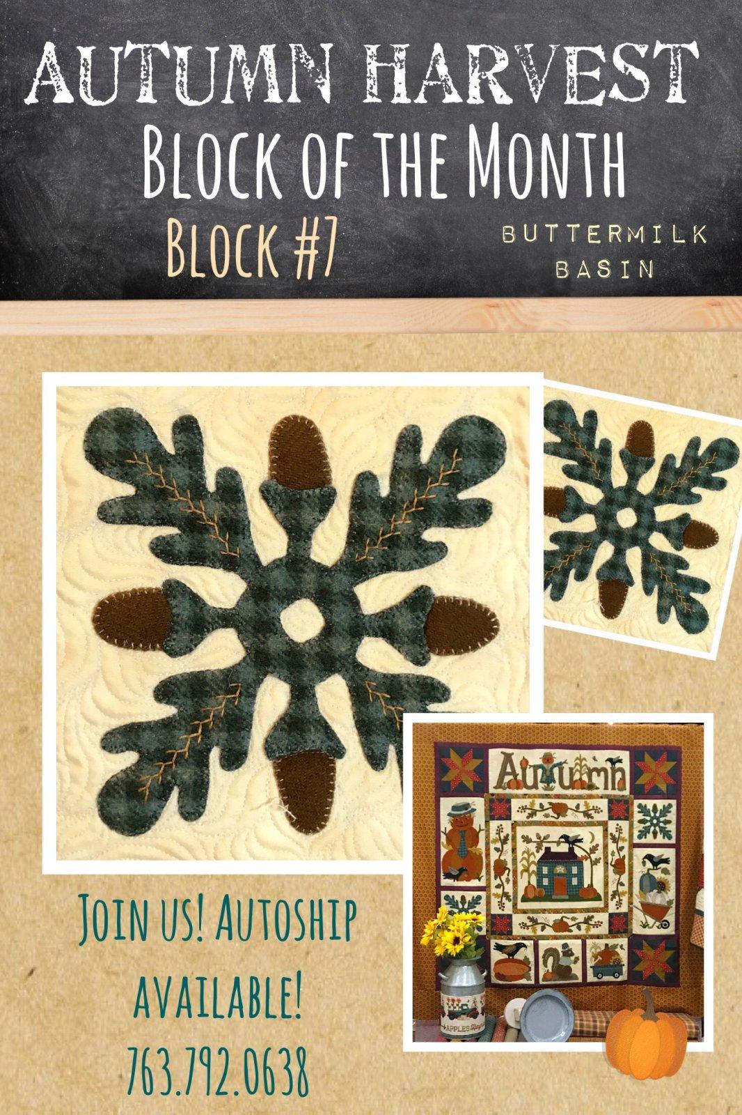 Autumn Harvest Wool & Cotton BOM * Block #7 Kit and Pattern