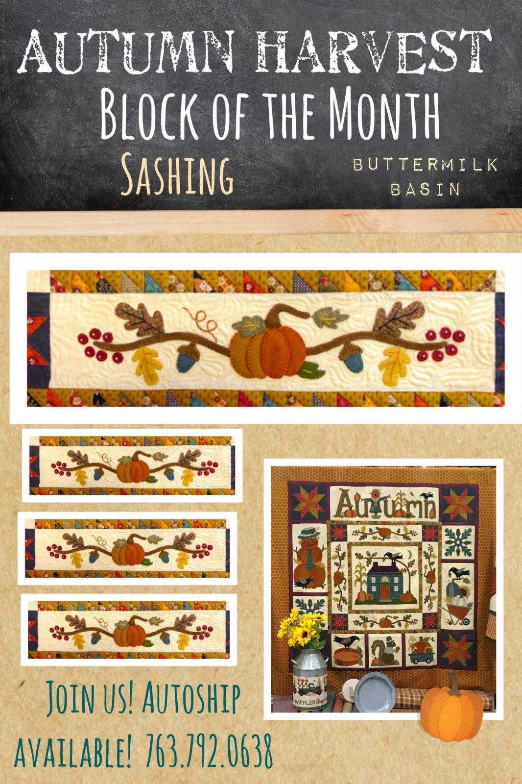 Autumn Harvest Wool & Cotton BOM *  Sashing Strips (4) Kit & Pattern