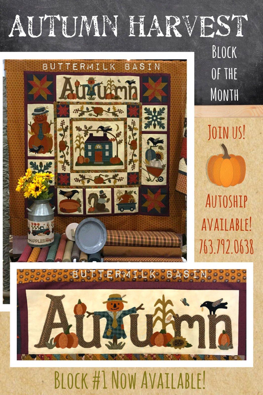 Autumn Harvest Wool & Cotton BOM * Block #1 Kit and Pattern