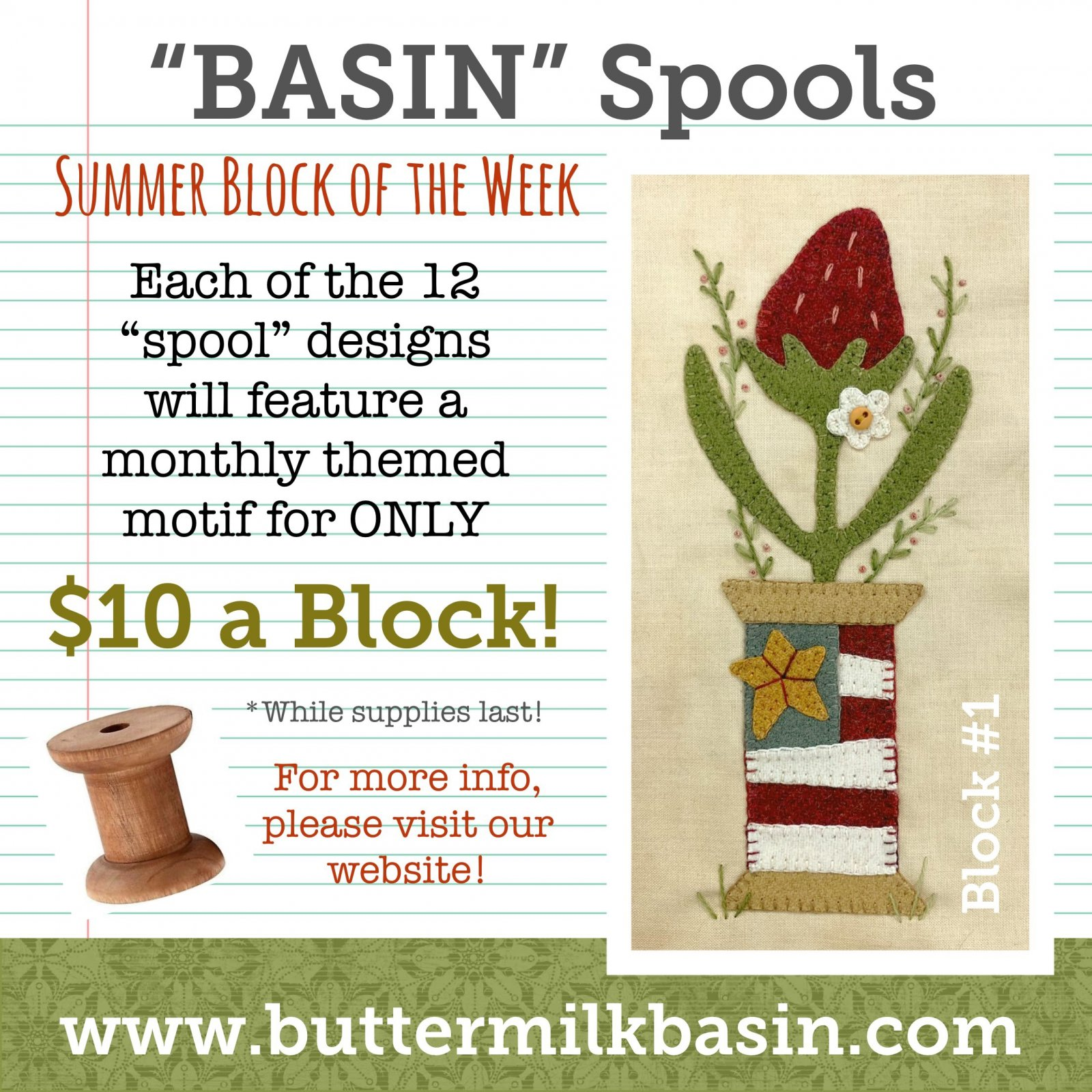 BASIN Spools! Summer Block of the Week! * Block 1 Kit & Pattern