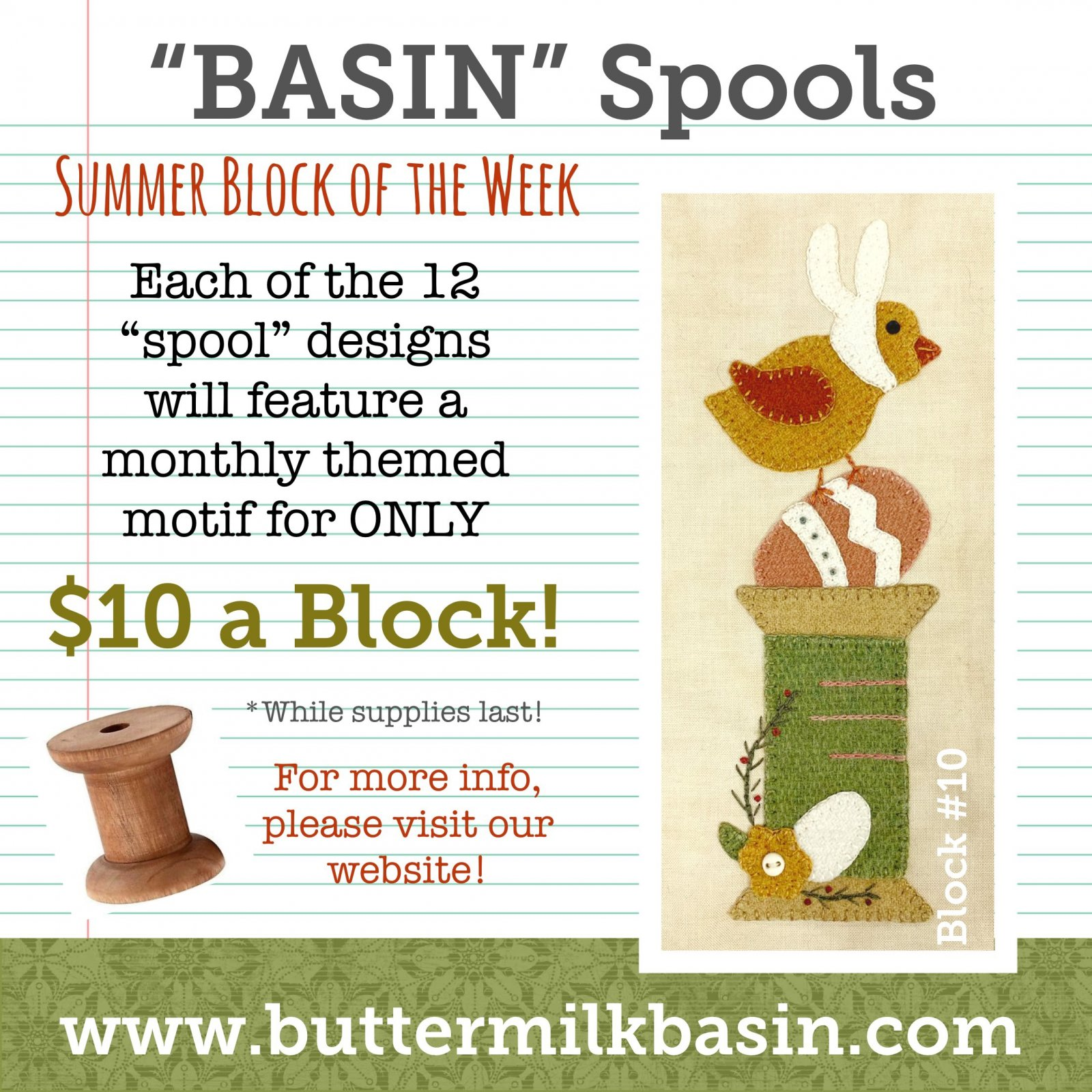BASIN Spools! Summer Block of the Week! * Block 10 Kit & Pattern