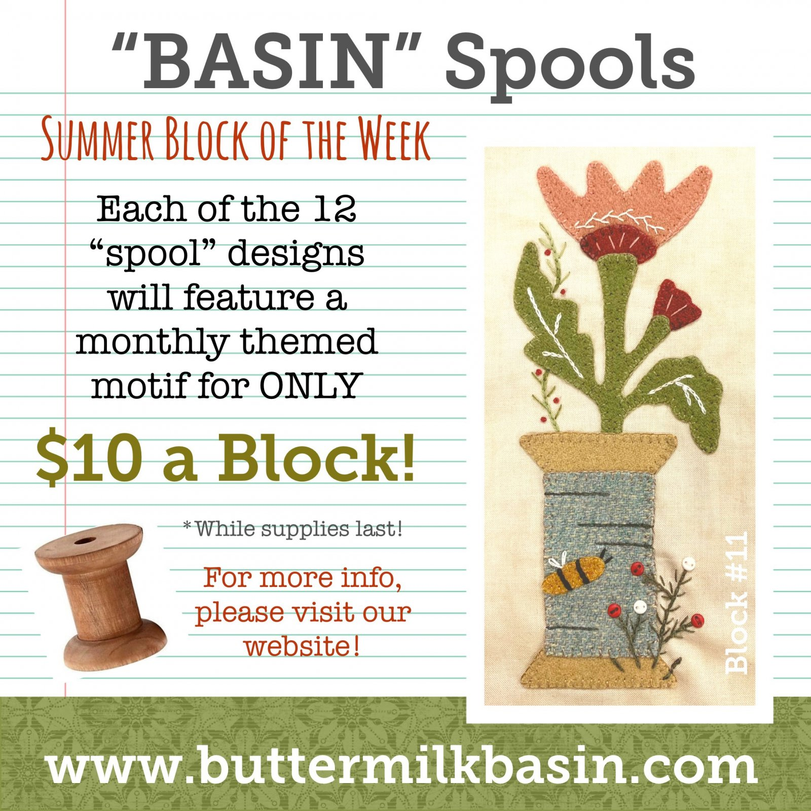 BASIN Spools! Summer Block of the Week! * Block 11 Kit & Pattern