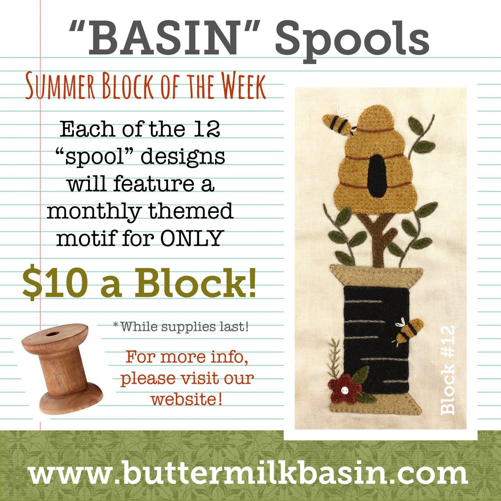 BASIN Spools! Summer Block of the Week! * Block 12 Kit & Pattern