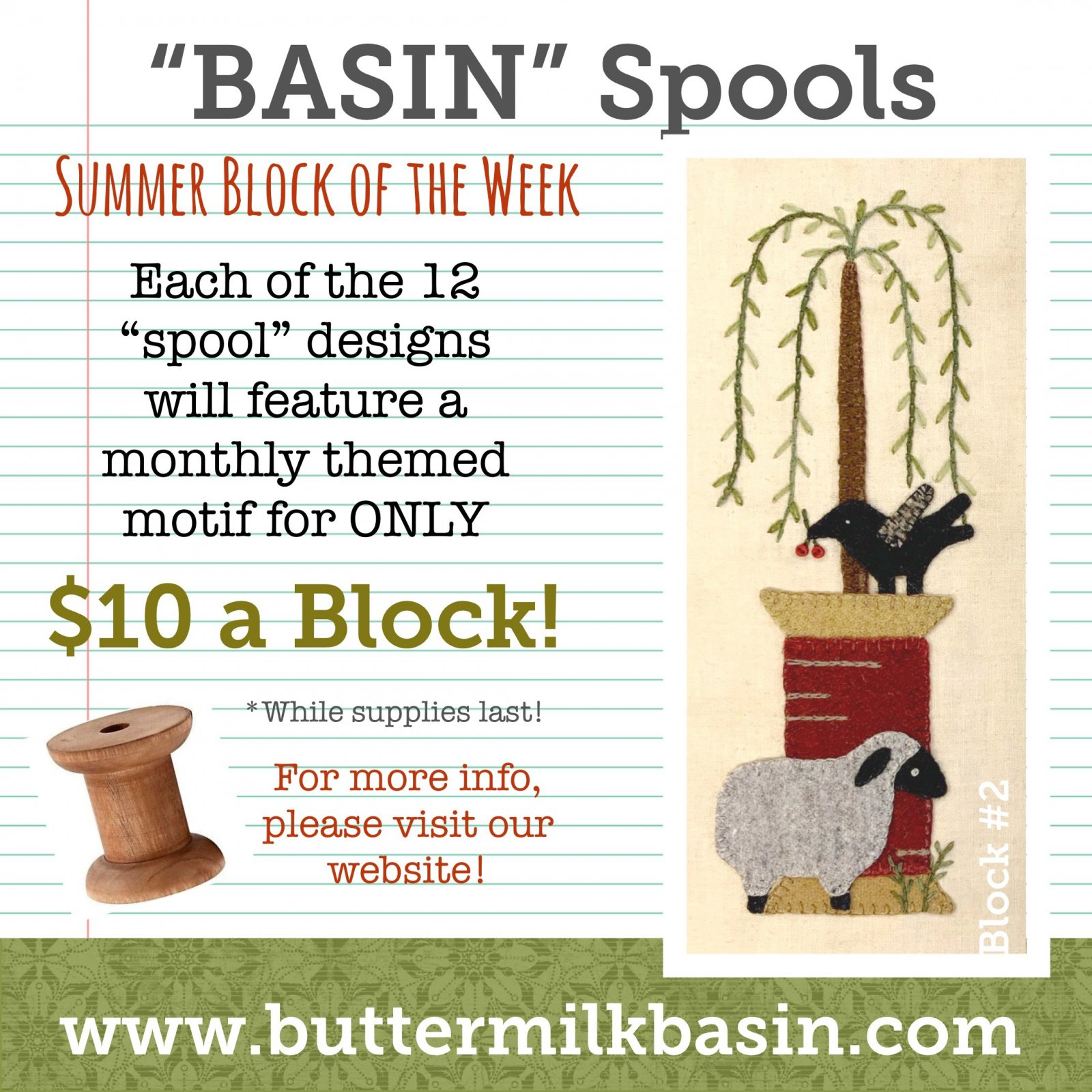 BASIN Spools! Summer Block of the Week! * Block 2 Kit & Pattern