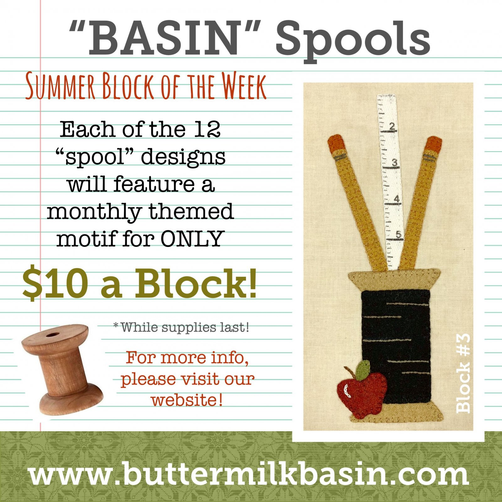 BASIN Spools! Summer Block of the Week! * Block 3 Kit & Pattern