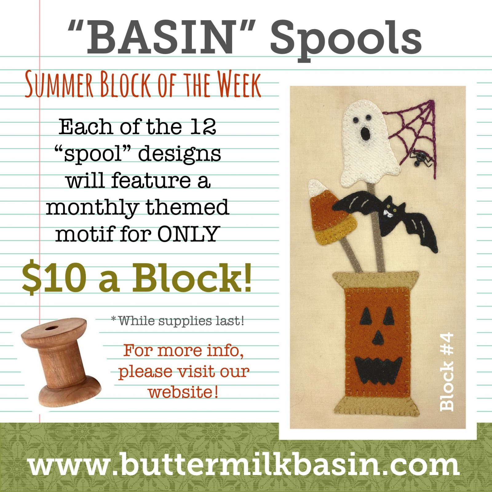 BASIN Spools! Summer Block of the Week! * Block 4 Kit & Pattern