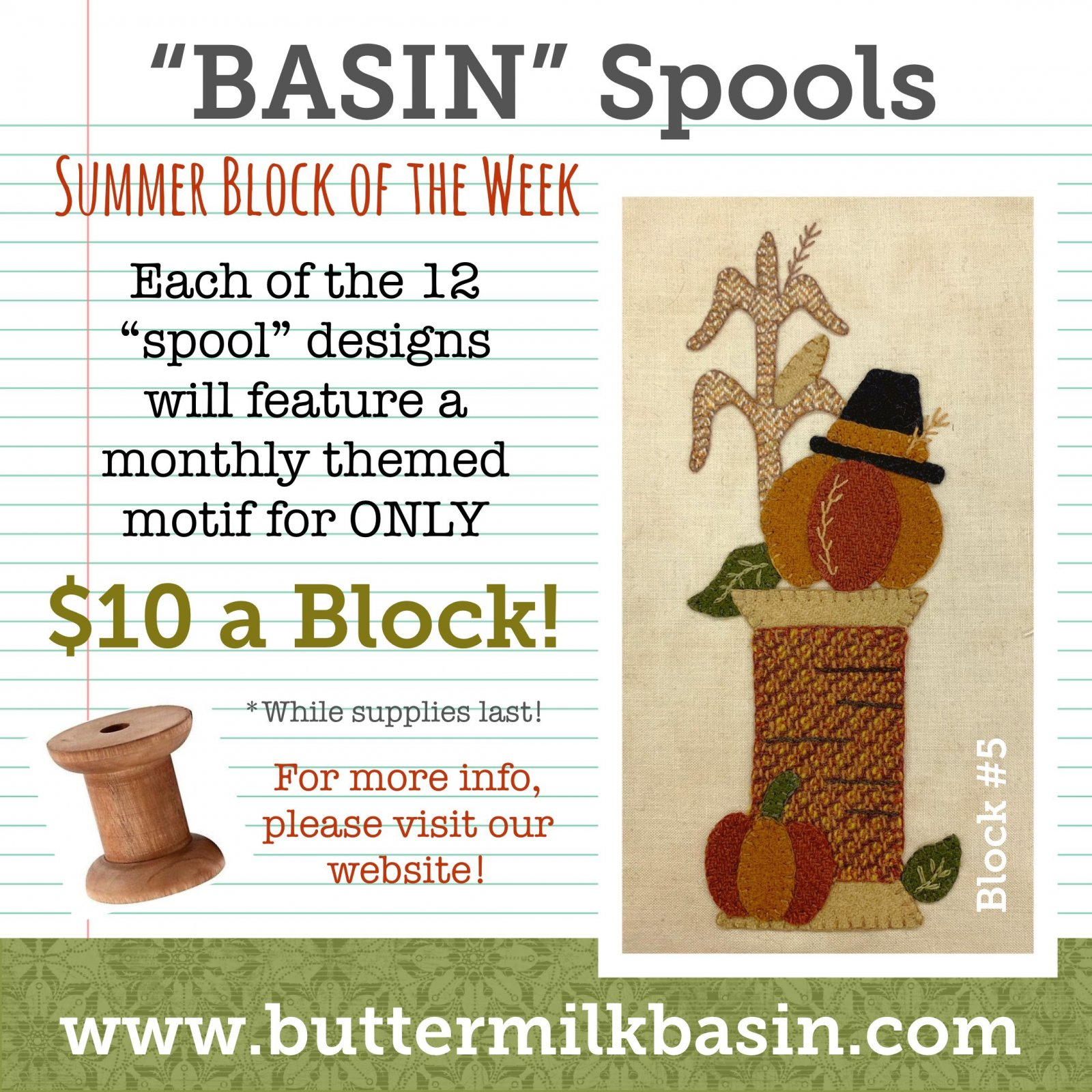 BASIN Spools! Summer Block of the Week! * Block 5 Kit & Pattern