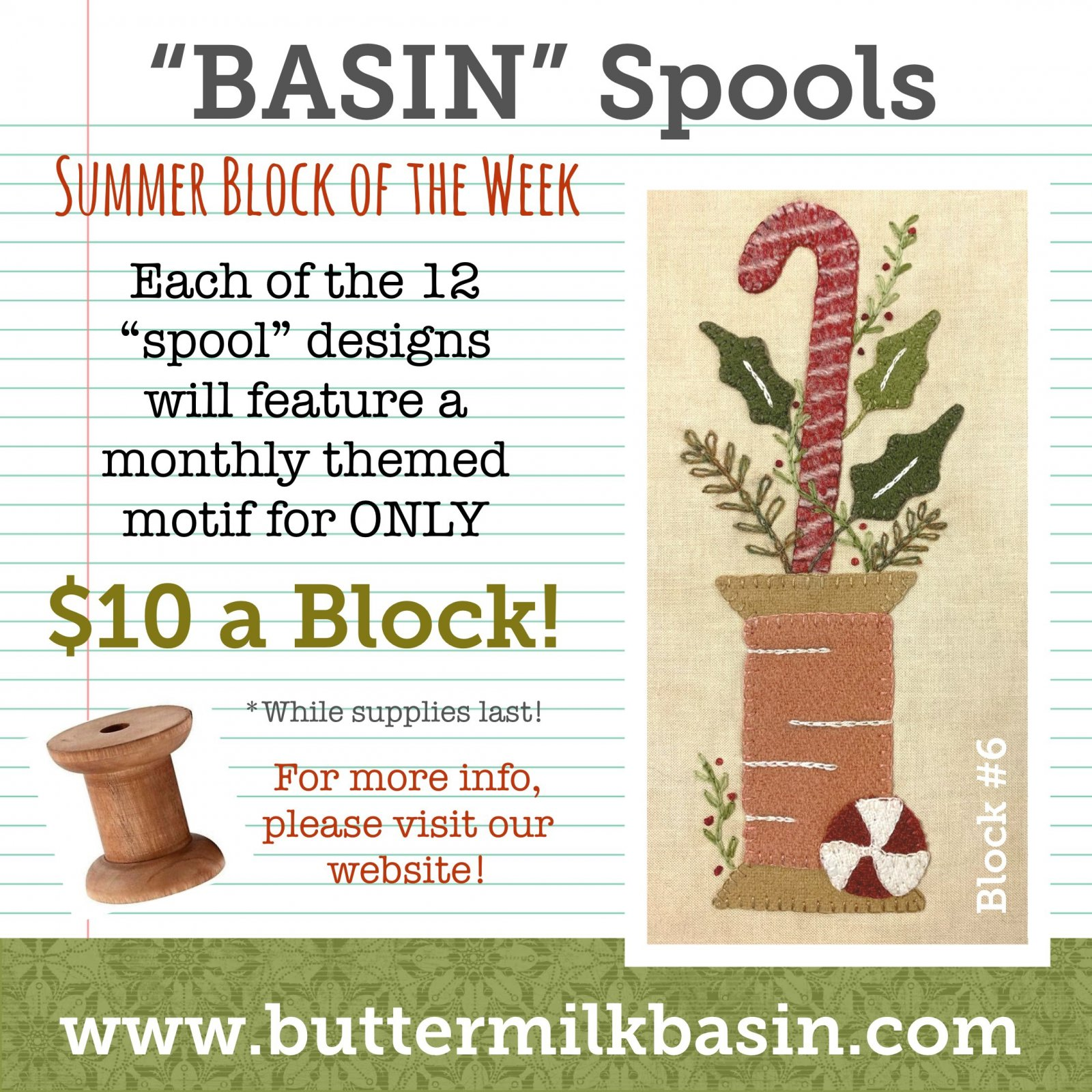 BASIN Spools! Summer Block of the Week! * Blocks 6 Kit & Pattern