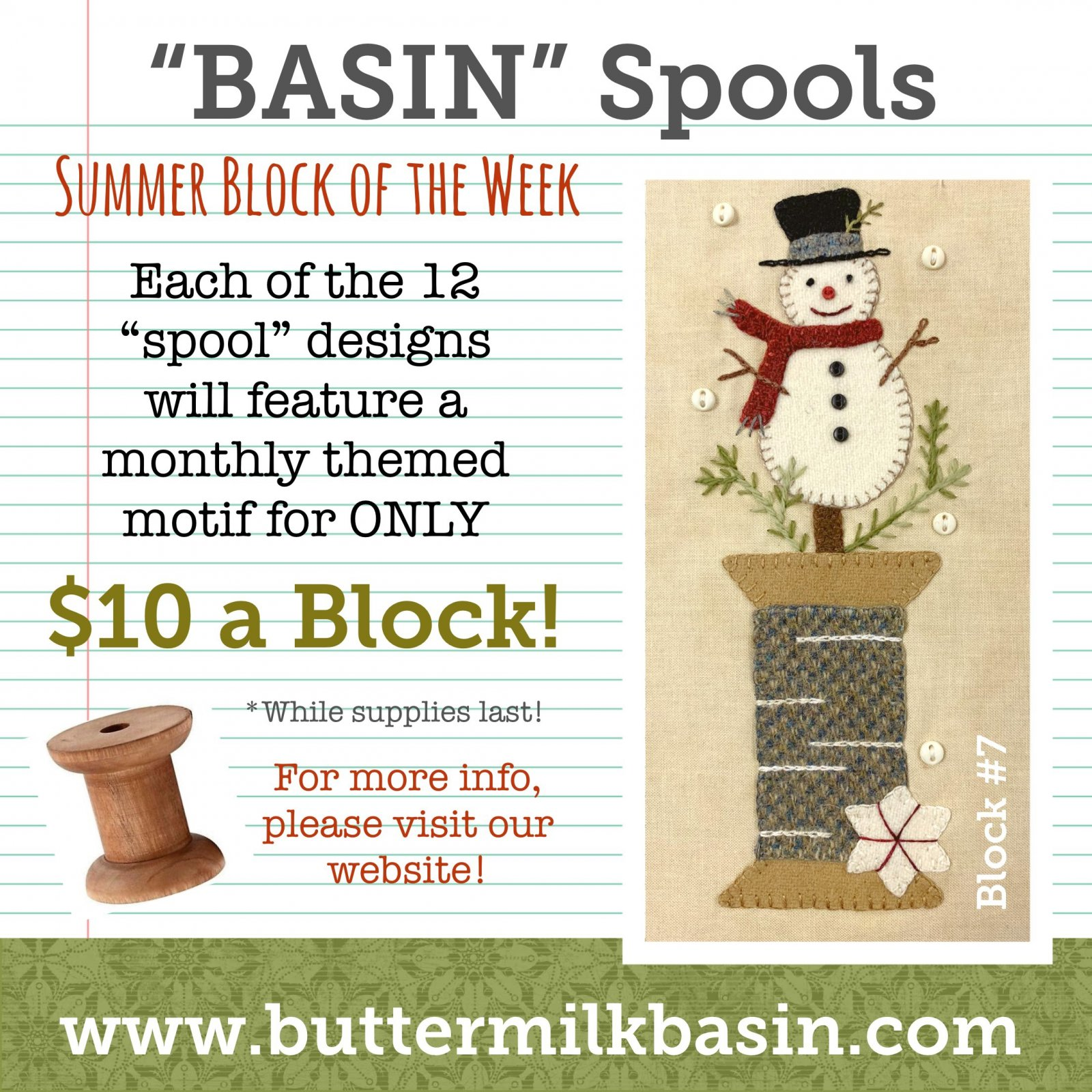 BASIN Spools! Summer Block of the Week! * Blocks 7 Kit & Pattern