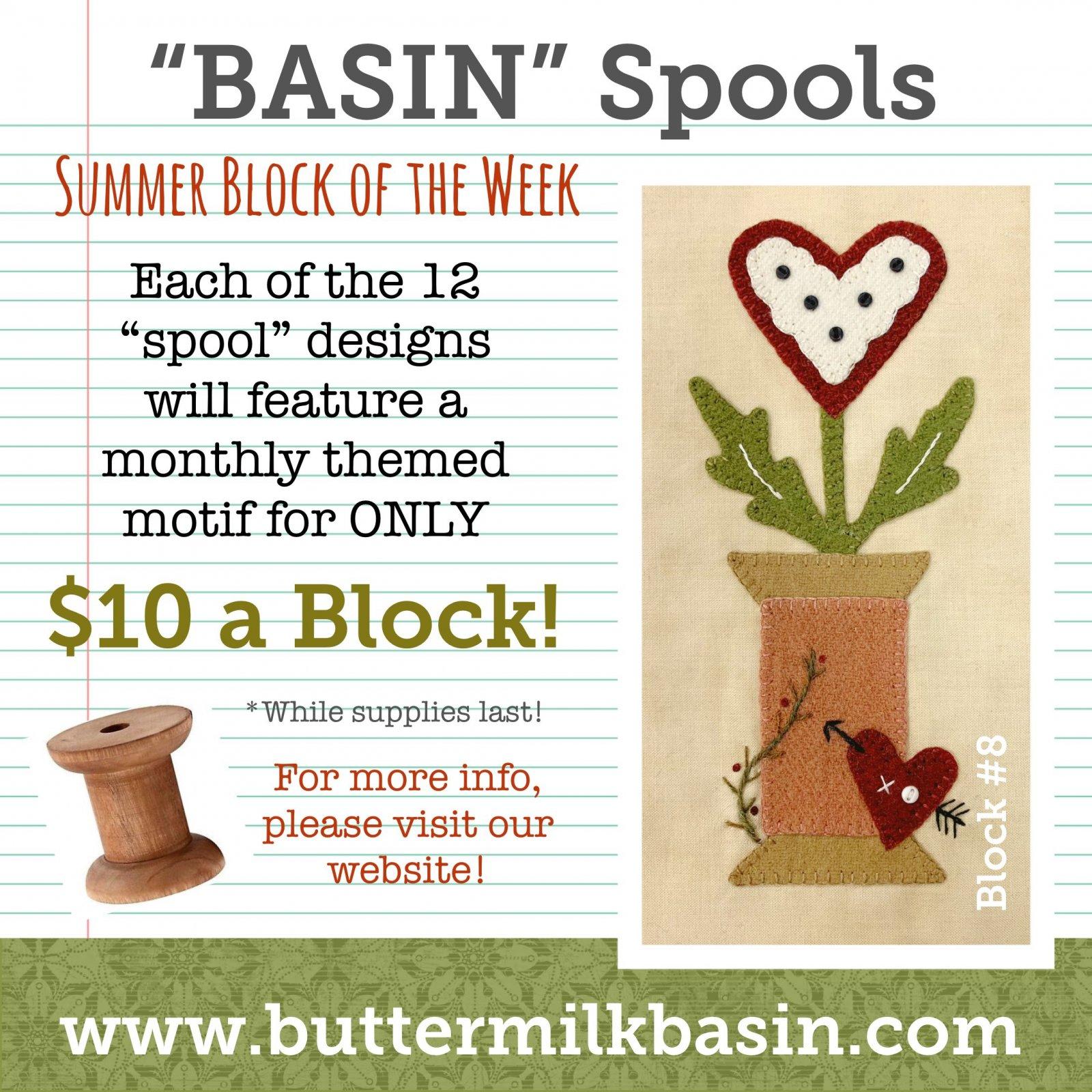 BASIN Spools! Summer Block of the Week! * Block 8 Kit & Pattern