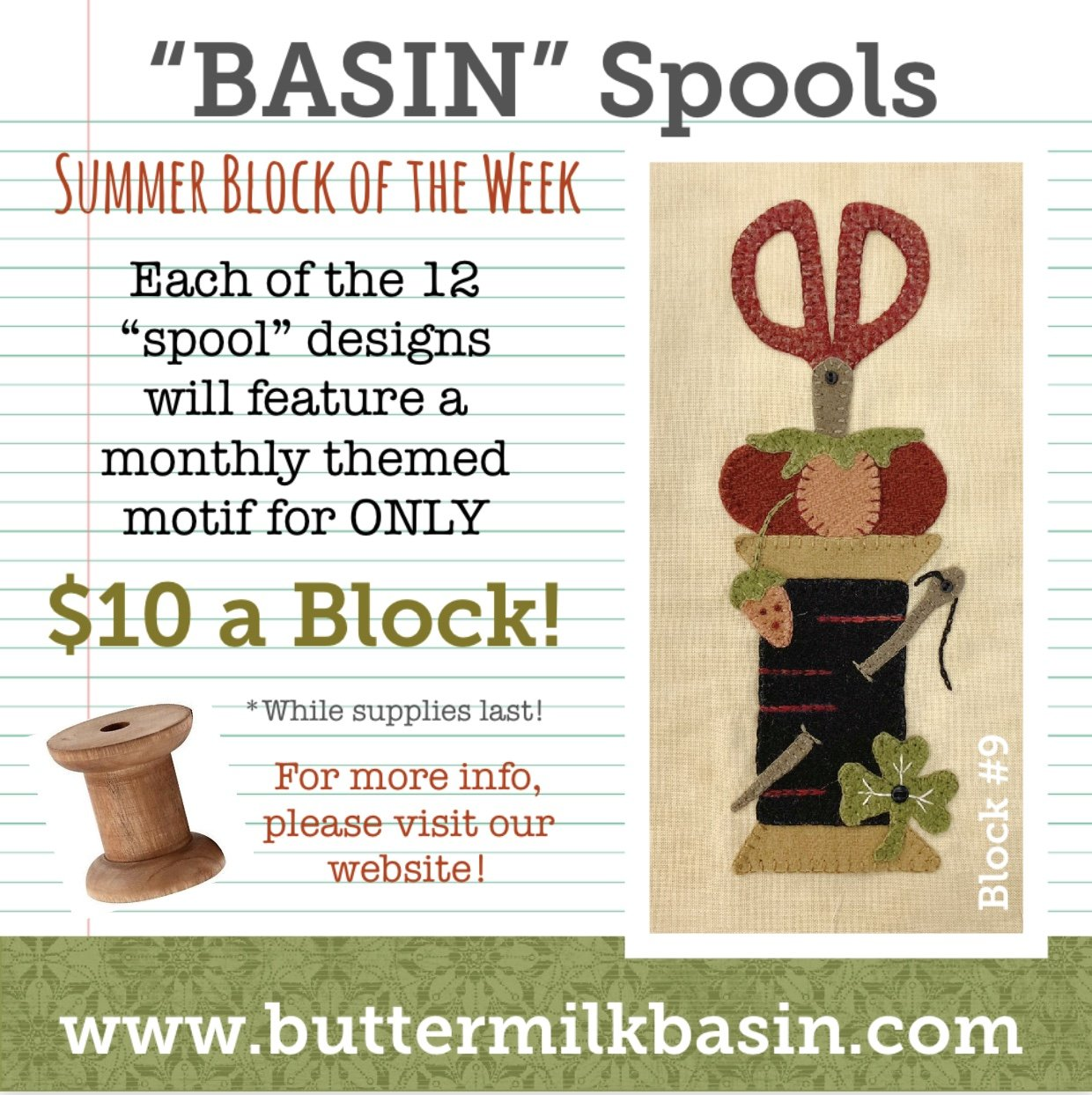 BASIN Spools! Summer Block of the Week! * Block 9 Kit & Pattern