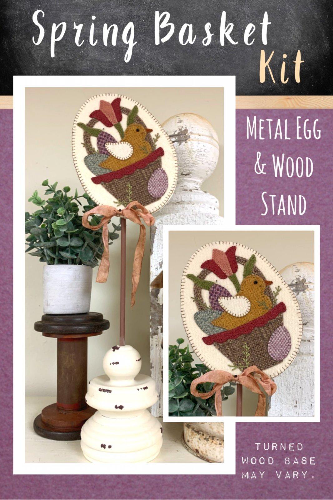 Spring Basket * Kit, Pattern, Metal Egg & Wood Stand