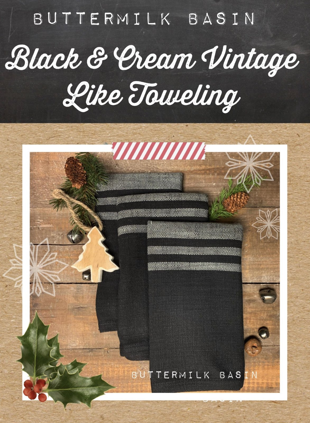Black & Cream Vintage Like Toweling