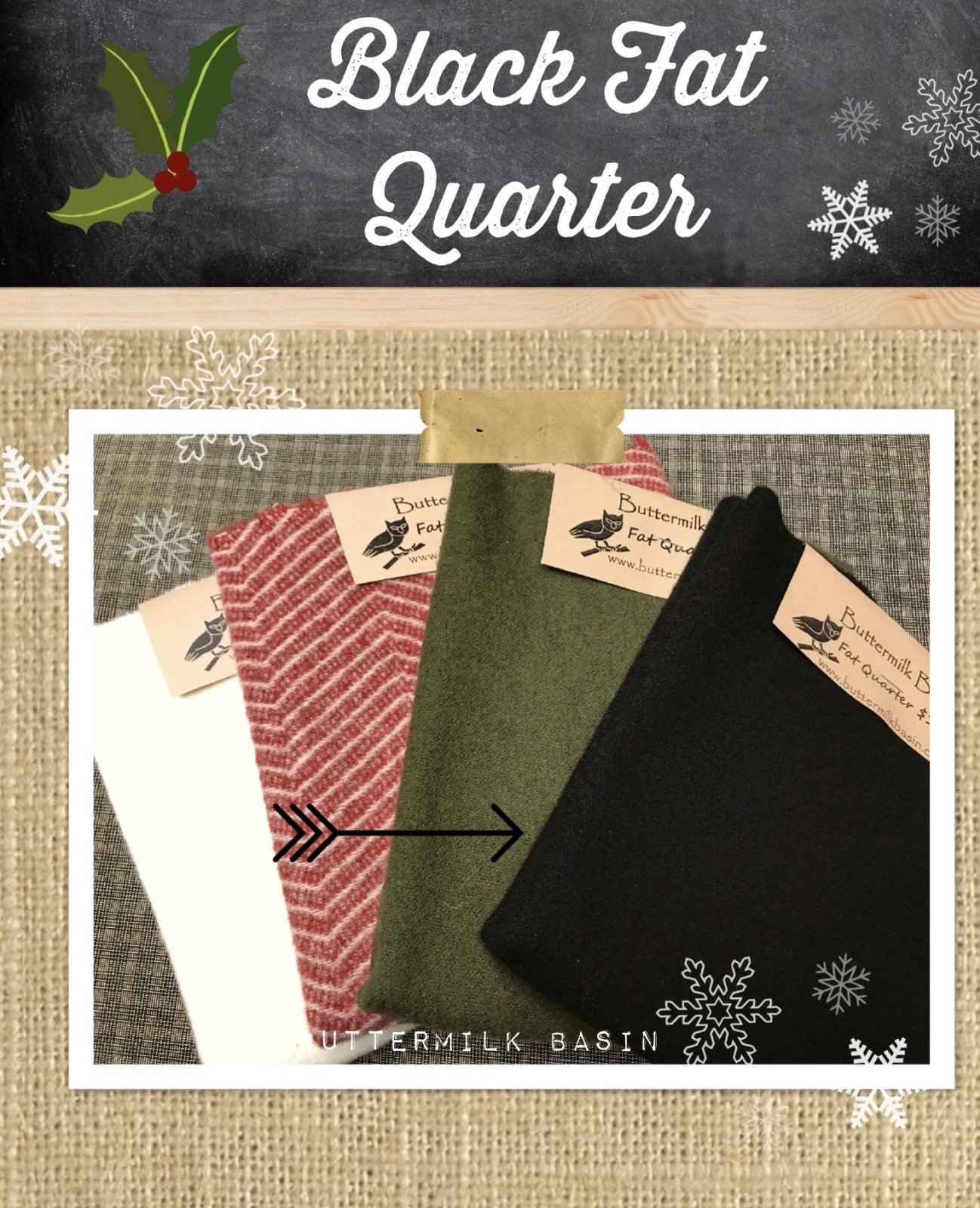 Black Wool Fat Quarter