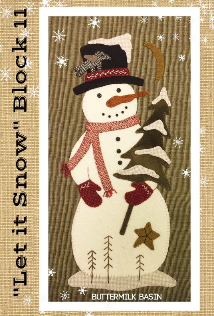 Let it Snow Mystery BOM * Block 11 (Large Snowman) Pattern & Kit