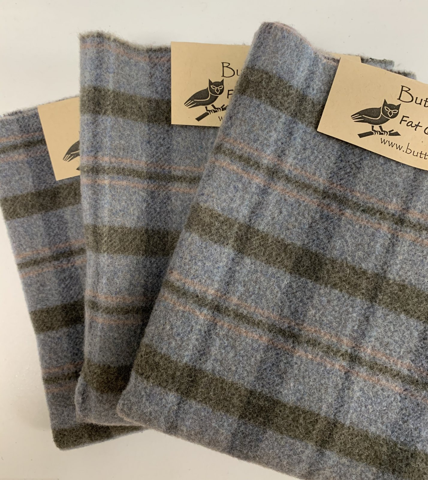 Blue Plaid Wool Fat Quarter