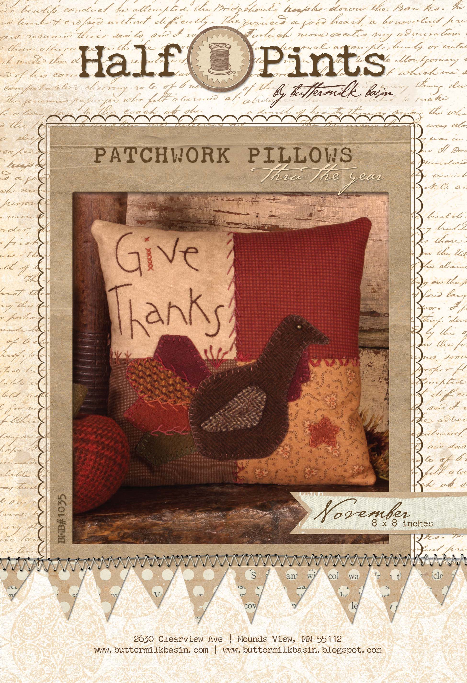 Patchwork Pillow - Nov. (Kit with Wool)