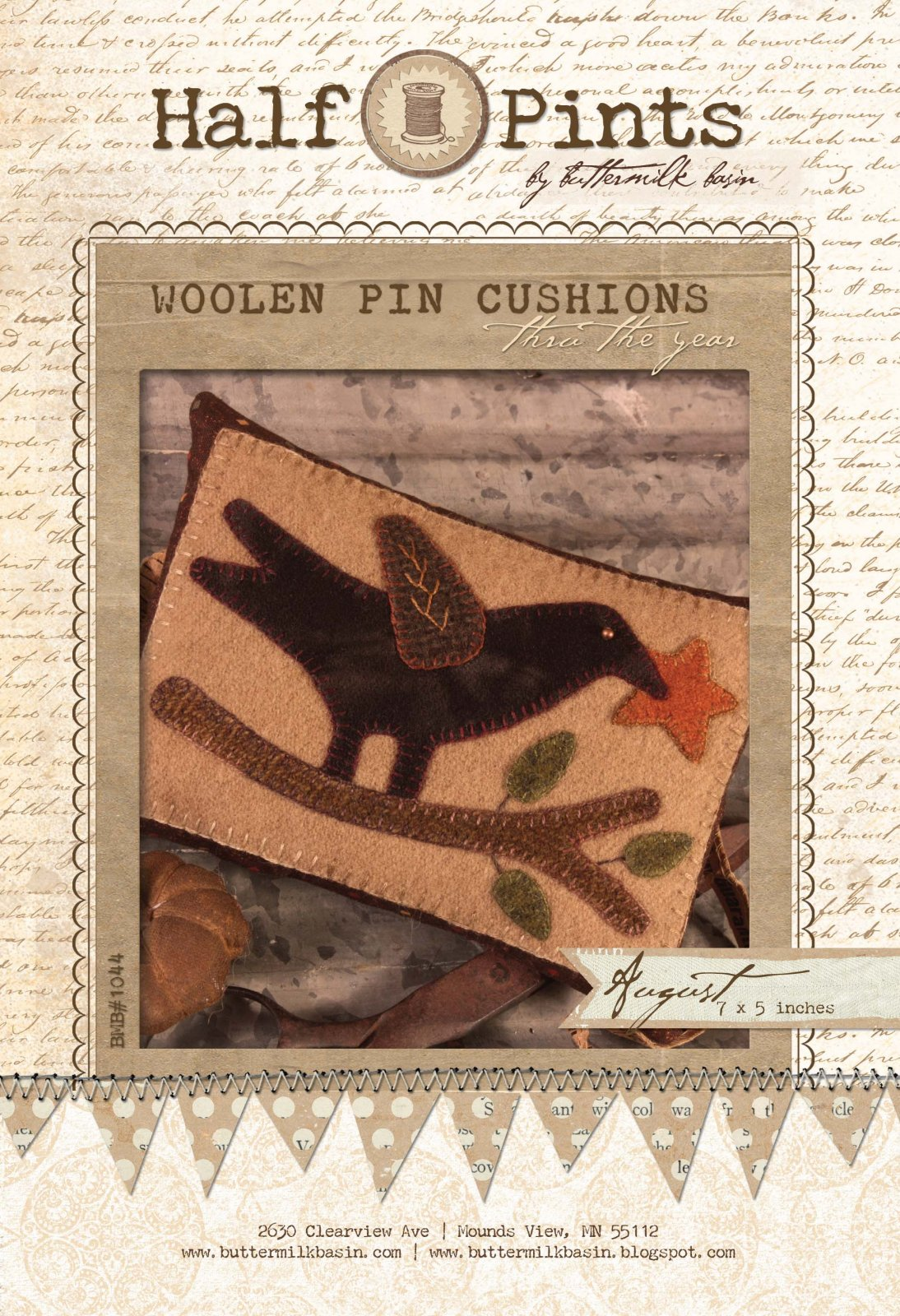 Woolen Pin Cushion - Aug. (Kit with Wool)