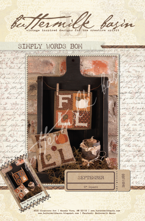 Simply Words BOM September * KIT and Pattern