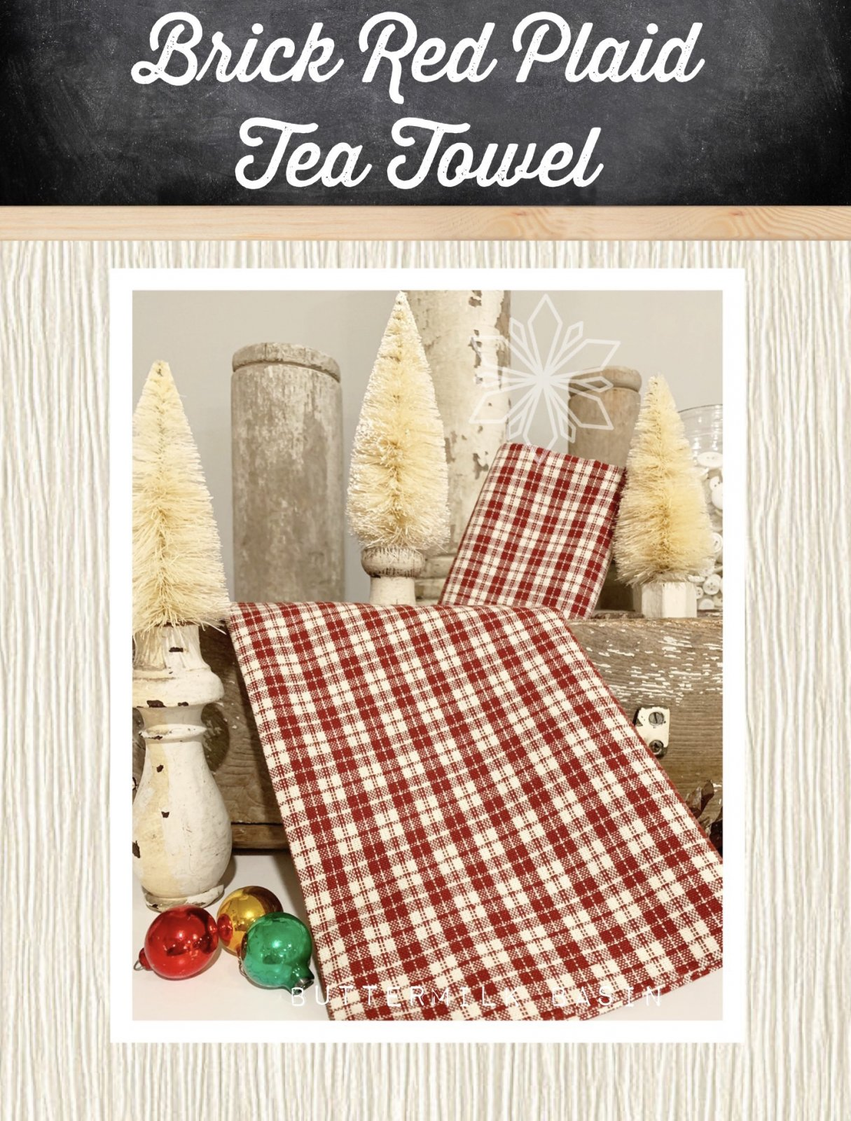 Brick Red Plaid Tea Towel